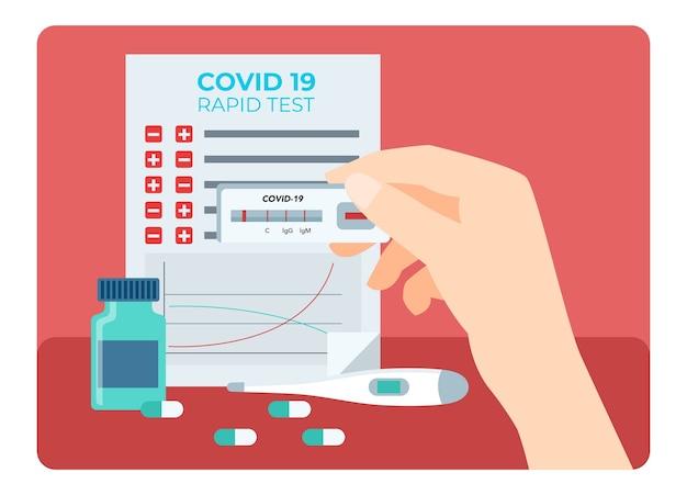 Um profissional de saúde está analisando os resultados do teste rápido usando várias ferramentas preparadas