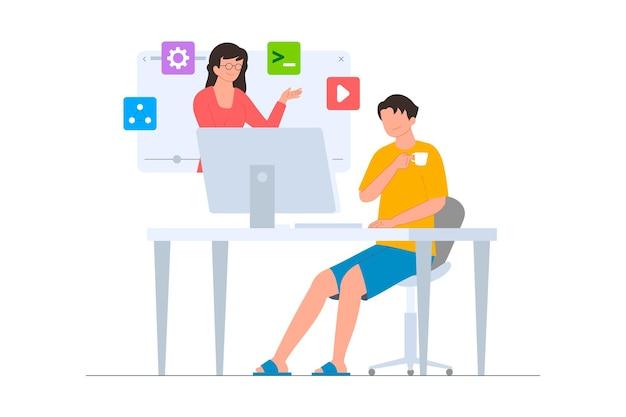 Um programador participa de um curso online no site de ilustração plana