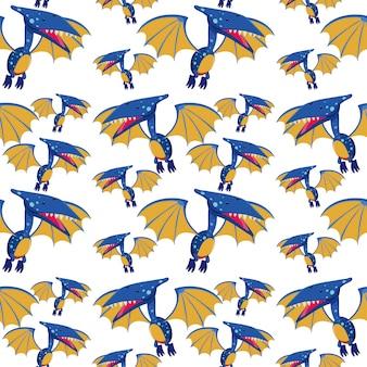 Um, pteranodon, seamless, padrão
