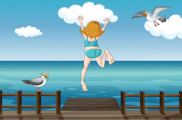Um, pular, menina, em, um, água
