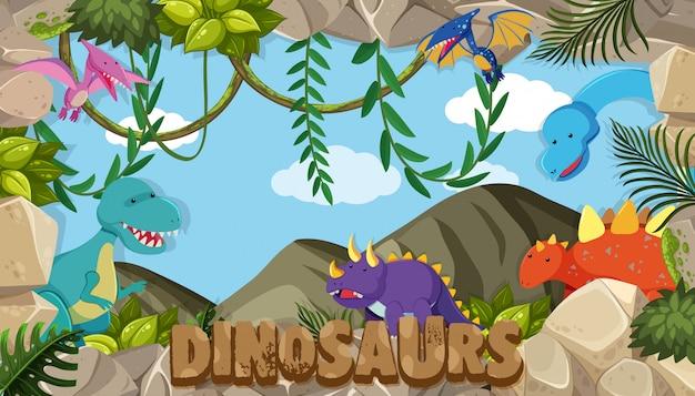 Um quadro de dinossauros