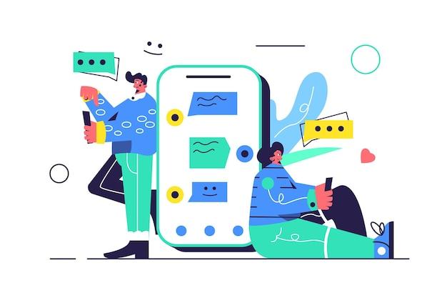 Um rapaz e uma rapariga trocam mensagens de texto através de um grande telefone, bolhas de mensagens isoladas no fundo branco,