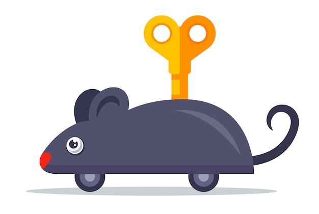 Um rato cinza mecânico com uma chave nas costas. ilustração em vetor personagem plana.