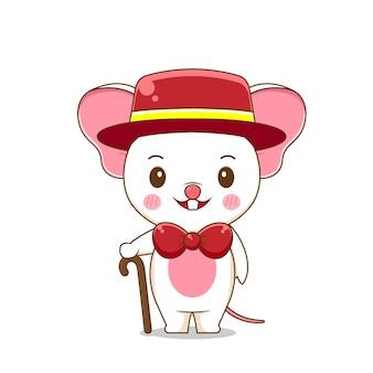 Um rato fofo usa terno formal