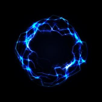 Um relâmpago azul brilhante moldura redonda sinal de voz visual música equalizador visualização ondas na água