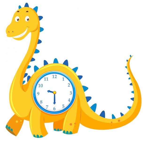 Um relógio de dinossauro no fundo branco