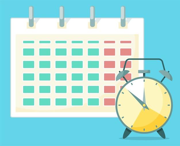 Um relógio está na frente do calendário.