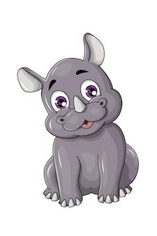 Um rinoceronte cinza feliz com chifres e olhos roxos, desenho animal cartoon ilustração