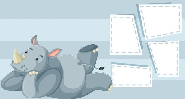 Um rinoceronte no modelo de nota
