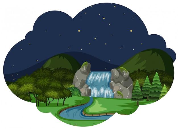Um, rio, em, paisagem natureza, à noite