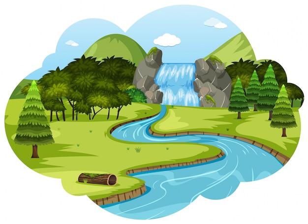 Um, rio, em, paisagem natureza