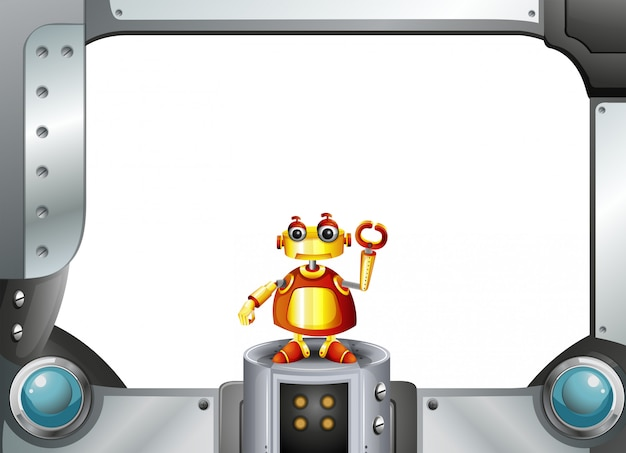 Um robô colorido no meio do quadro vazio