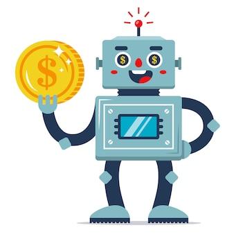 Um robô de ferro segura uma moeda na mão. renda passiva. programa de trabalho automatizado. ganhos na internet. personagem de vetor plana