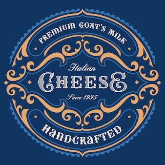 Um rótulo de queijo redondo vintage, este design pode ser usado como um modelo para um pacote.