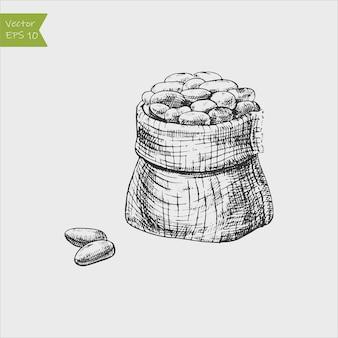 Um saco de grãos de cacau ou café