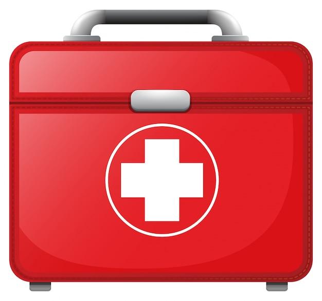 Um saco médico vermelho