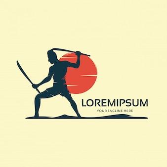 Um samurai com um modelo de design de logotipo de katana