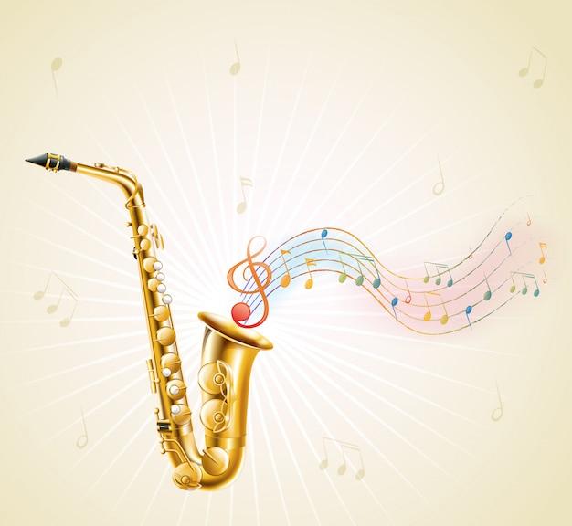 Um saxofone com notas musicais