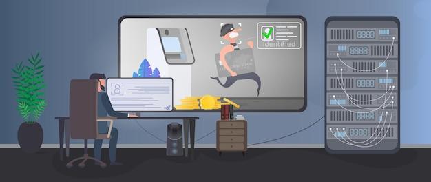 Um segurança está vigiando um ladrão em uma sala de segurança. identificação de um ladrão. um ladrão rouba um cartão de banco perto de um caixa eletrônico. conceito de segurança. vetor.