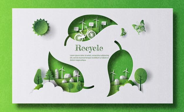 Um símbolo de reciclagem de folhas com cidade verde em estilo de jornal
