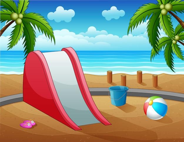 Um slide com brinquedos na ilustração da praia