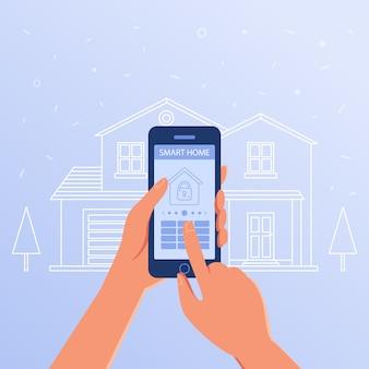 Um smartphone com configurações de casa inteligente e sistema de controladores.
