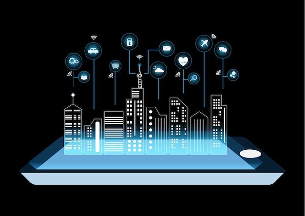 Um smartphone ou tablet digital inteligente