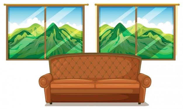 Um sofá perto da janela