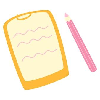 Um tablet com um pedaço de papel no qual um papel de teste e um lápis