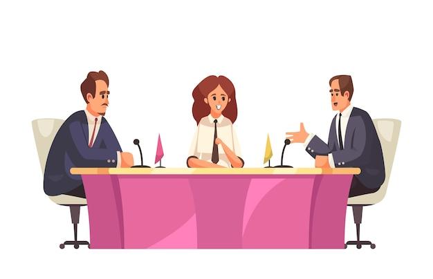 Um talk show político com vista para uma mesa de reunião com políticos falando em microfones.
