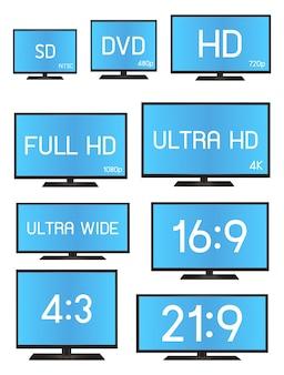 Um tamanho de resolução de televisão padrão