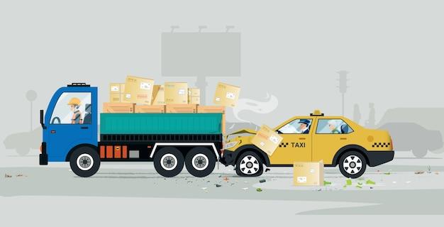 Um táxi sofreu um acidente na parte de trás de um caminhão de carga