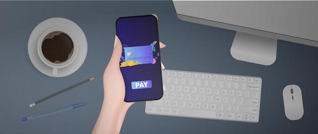 Um telefone com tela branca está sobre a mesa. modelo de publicidade em um smartphone. smartphone com tela em branco. vetor realista.