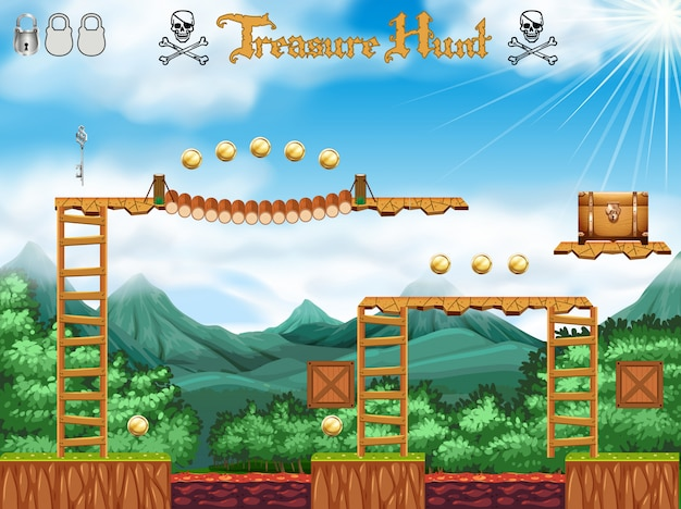 Um tema de pirata treasure hunting game