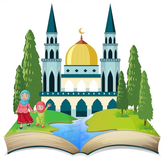 Um tema muçulmano de livro aberto