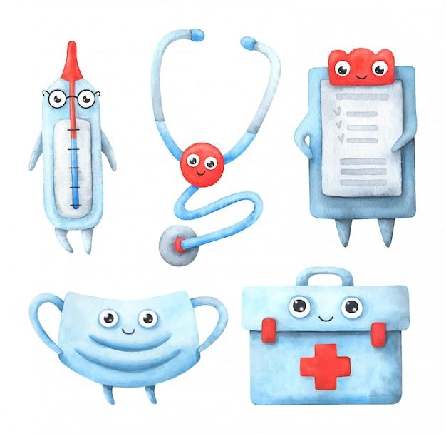 Um termômetro dos desenhos animados, estetoscópio, lista de doentes, máscara, kit de primeiros socorros.
