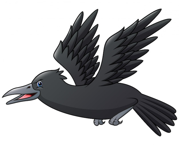 Um terrível corvo voando cartoon