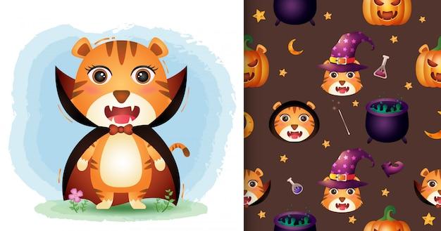 Um tigre bonito com coleção de personagens de halloween de fantasia de drácula. padrão sem emenda e desenhos de ilustração