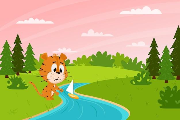 Um tigre bonito dos desenhos animados lança um barco em um riacho na floresta. paisagem de primavera. personagem animal.