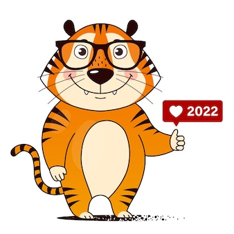 Um tigre legal de desenho animado com óculos e um ícone parecido com um polegar para cima