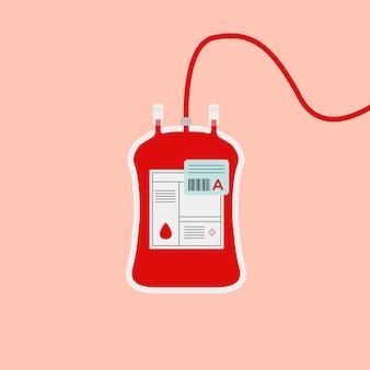 Um tipo de ilustração de caridade de saúde de vetor vermelho de bolsa de sangue