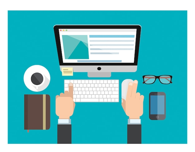 Um, trabalhador, trabalhar, computador, teclado