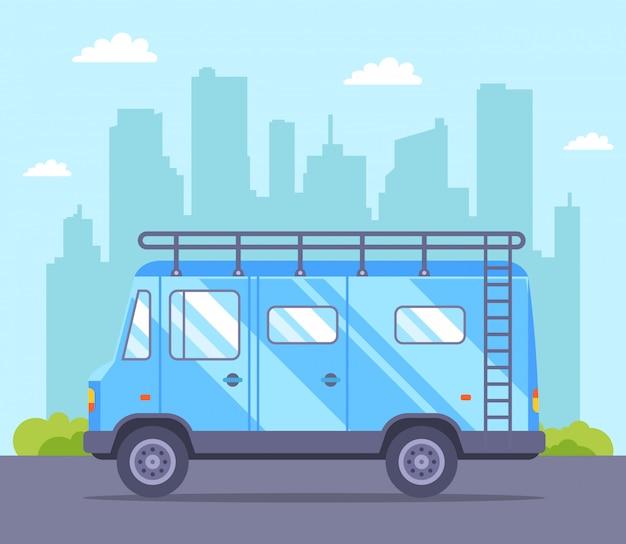 Um trailer azul sai para umas férias na cidade. ilustração plana.