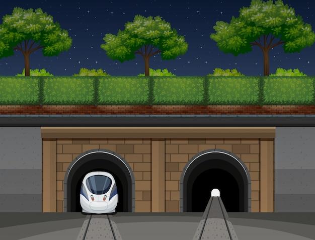 Um transporte de trem subterrâneo