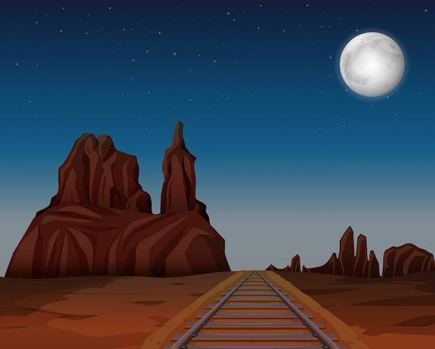 Um trem segue no deserto