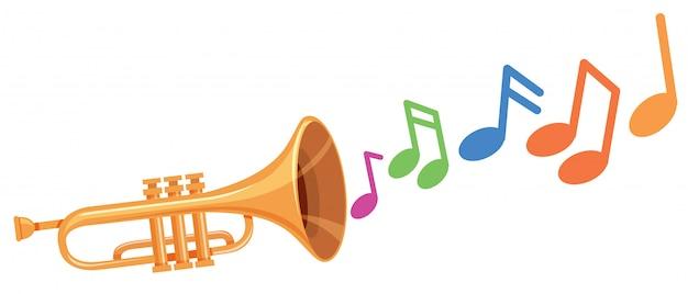 Um trompete com nota musical