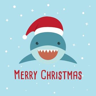 Um tubarão bonito vestindo papai noel.