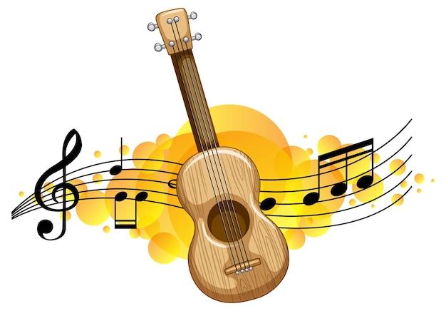 Um ukulele ou guitarra com fundo de símbolos de melodia