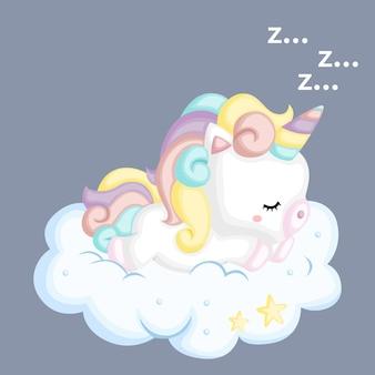 Um unicórnio adormecido no topo de uma nuvem