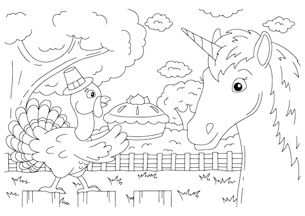 Um unicórnio engraçado com um chapéu de festa se divertindo em uma festa de aniversário cavalo bonito página do livro para colorir